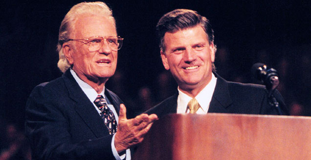 Billy Graham with son Franklin in 1998.