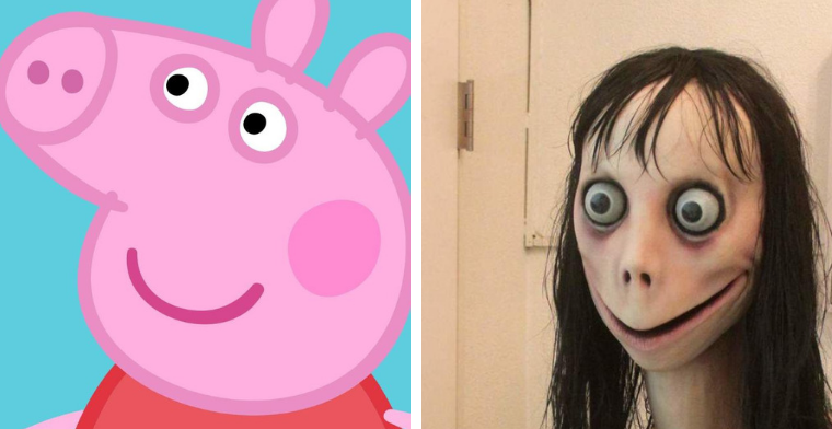 Images of the 'Momo' character (right) have been reported as appearing in children's videos of characters like Peppa Pig (left)