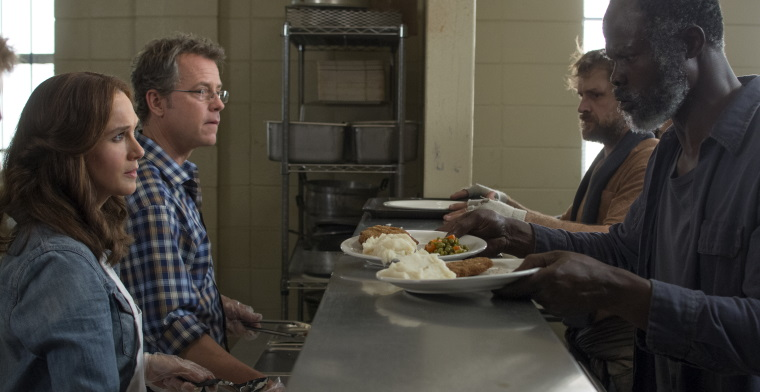 A film still of the main cast left to right: Renee Zellweger plays Debbie, Greg Kinnear plays Ron and Djimon Hounsou plays Denver.