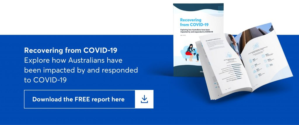 image which shows text which says recovering from covid-19. explore how australians have been impacted by and responded to covid-19 and a button which says download the free report here.
