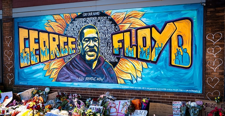 Photo shows a tribute mural to George Floyd in Minneapolis. Image: Mun Shots