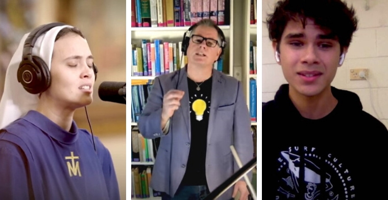 photo depicts a collage of 3 singers representing different churches across australia