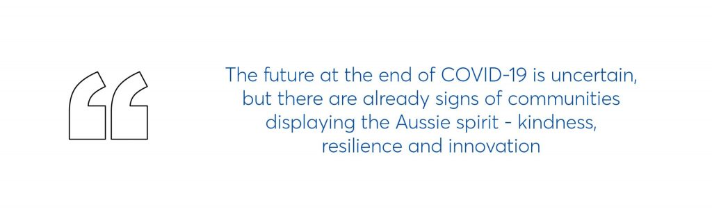 quote which says the future at the end of covid-19 is uncertain, but there are already signs of communities displaying the Aussie spirit - kindness, resilience and innovation