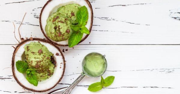 photo shows mint choc chip ice cream