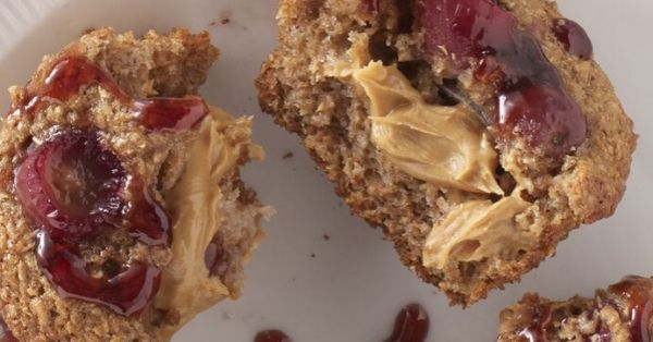 photo shows peanut butter and jam on a muffin