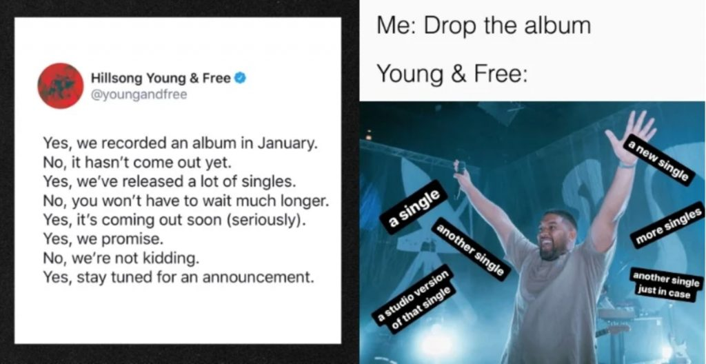 a meme of hillsong young and free's highly anticipated album release