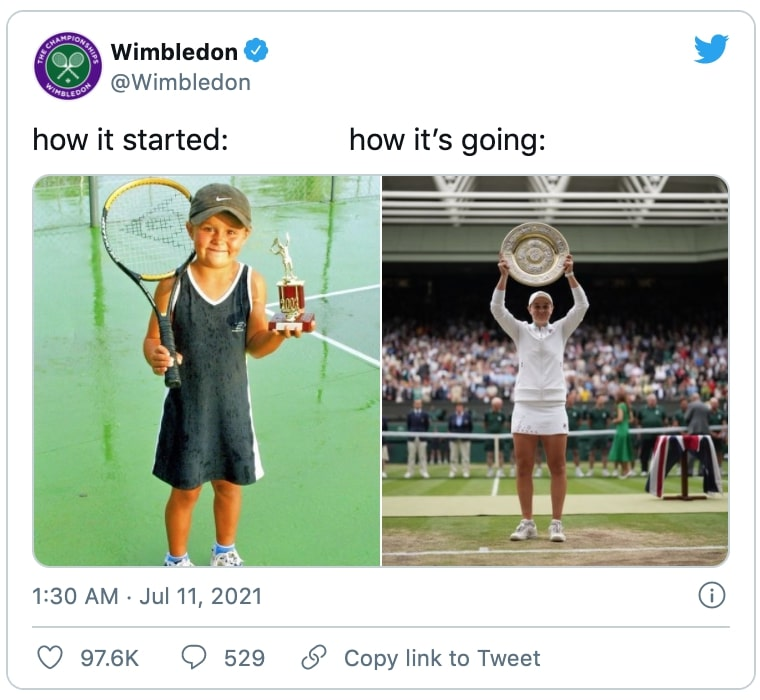"""a wimbledom twitter post showing a young photo of ash barty holding a racquet and medal and a photo of ash holding the wimbledom trophy with a caption that says """"how it started, how it's going"""""""